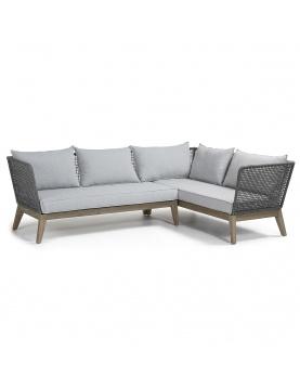 Canapé d'angle 4 places en eucalyptus et corde