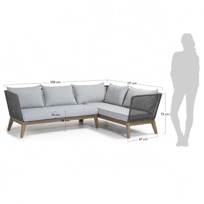 Canapé d'angle 4 places en eucalyptus et corde (Naturel)