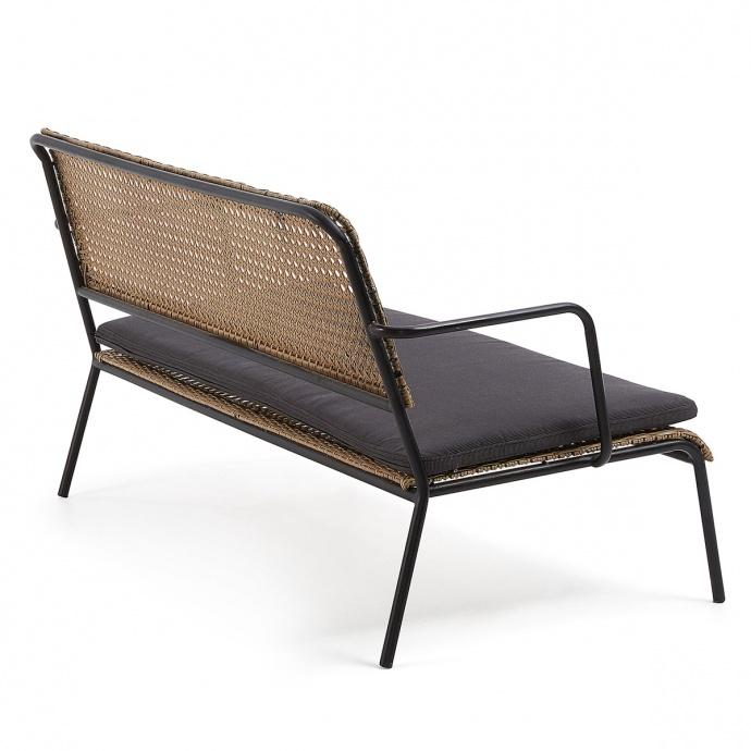 Canapé en acier et poly rotin (Naturel et noir)