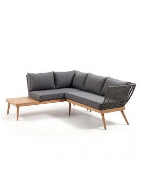 Canapé d'angle 4 places en eucalyptus et corde grise