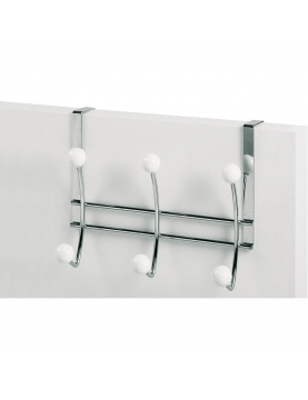 Patere 3t Dble Twin Chrome/blanc