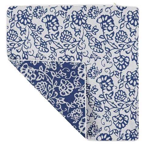 Housse de Coussin Motif Fleuri (Bleu roi et blanc)