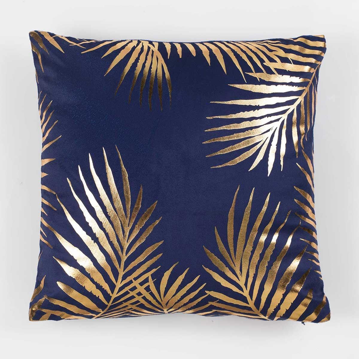 Housse de Coussin en Velours Imprimé Palmes Or (Bleu)