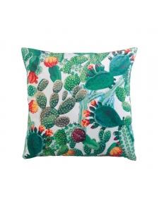 Coussin déhoussable en velours imprimé cactus