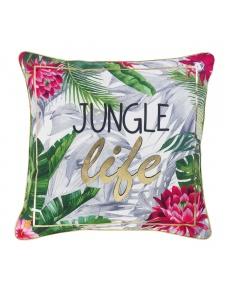 Coussin imprimé jungle colorée