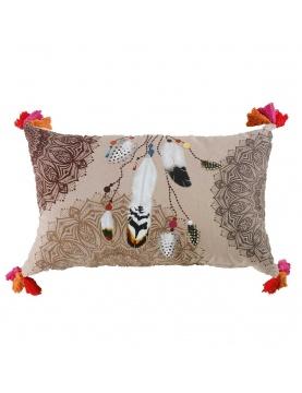 Coussin rectangulaire impressions mandalas et plumes