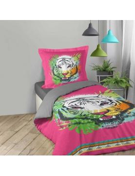 Parure de couette tigresse rose