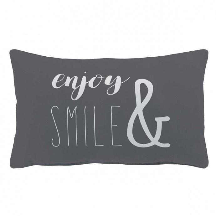 Coussin déhoussable enjoy et smile (Anthracite)