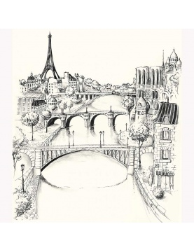Tissu imprimé vue sur la Seine