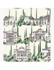 Tissu imprimé paysage de la renaissance italienne