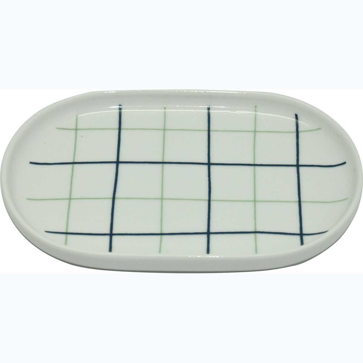 Porte savon en porcelaine à carreaux bleus (blanc / bleu)
