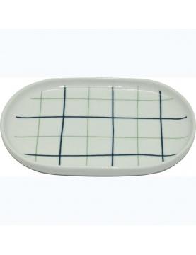 Porte savon en porcelaine à carreaux bleus