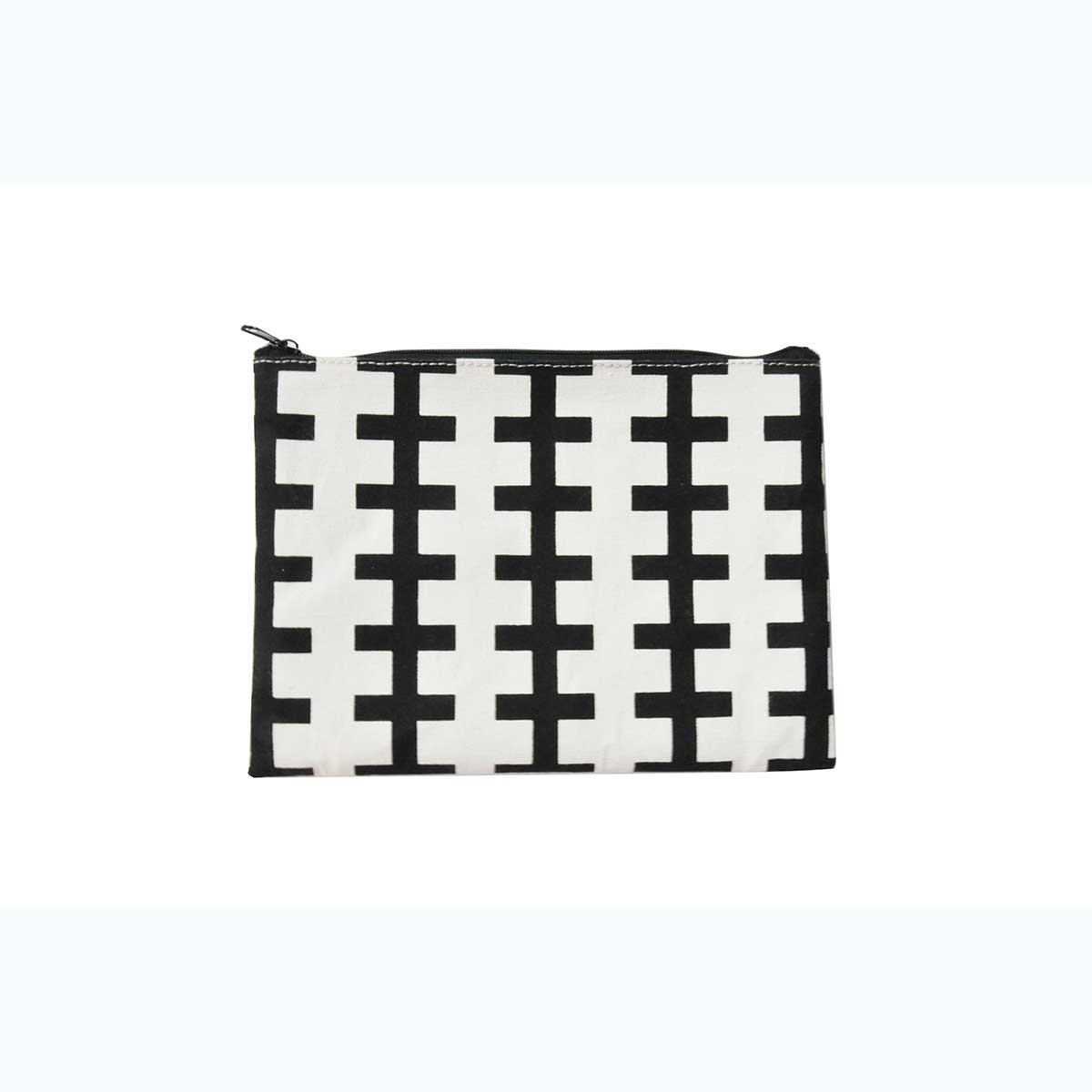 Trousse à motifs géométriques (BLANC NOIR)