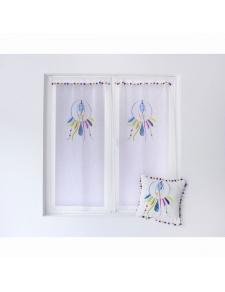 Paire de petits vitrages à pompons multicolores imprimé attrape-rêve