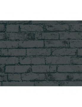 Papier peint imprimé briques noires