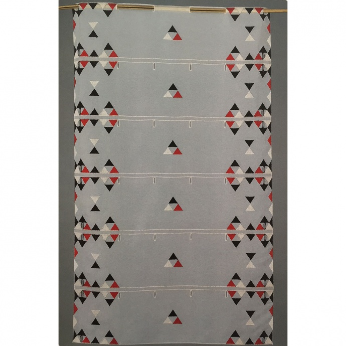 Brise bise modulable en voile brodé de triangles colorés (Ivoire)
