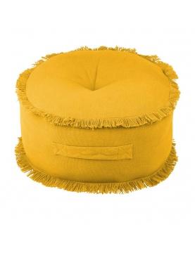 Pouf rond frangé moutarde