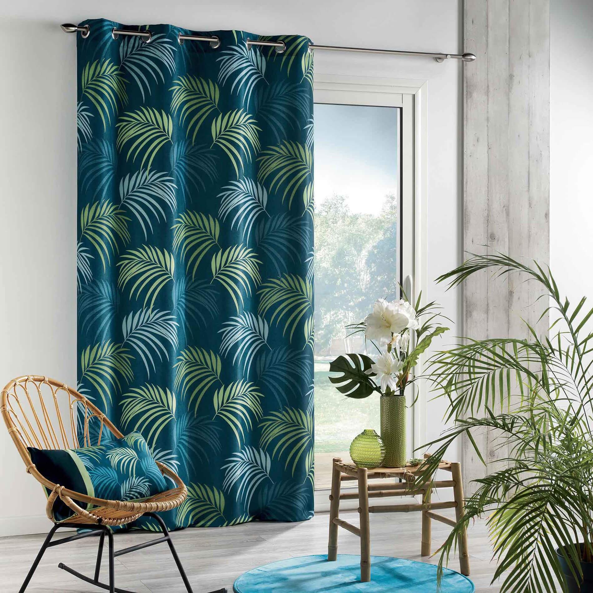 Rideau à Palmes Colorées (Bleu)