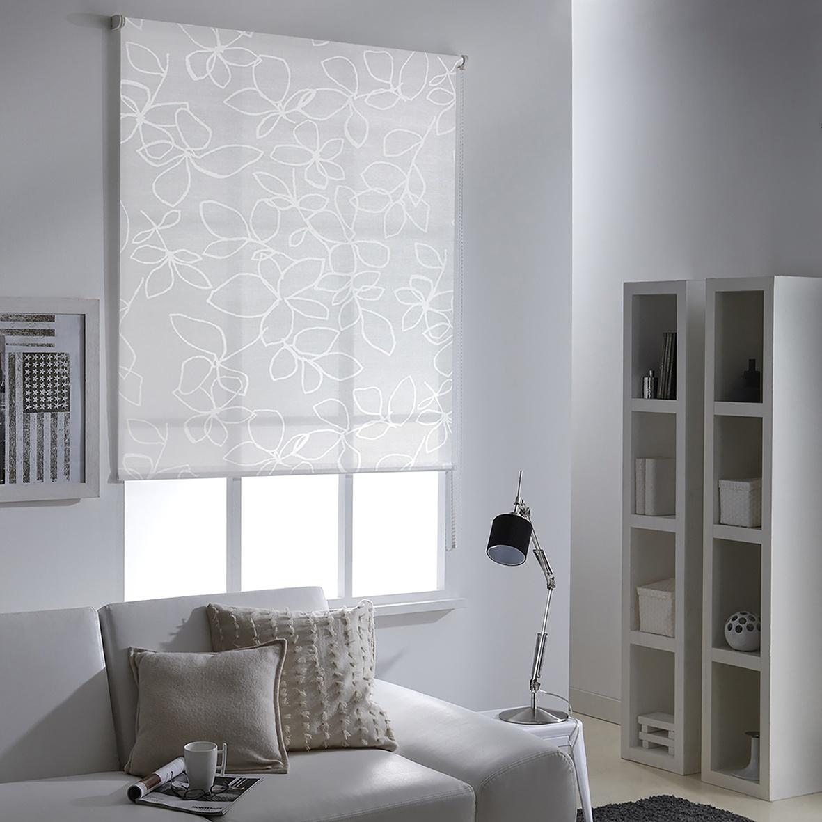Store Enrouleur Imprimé Fleuri (Blanc)