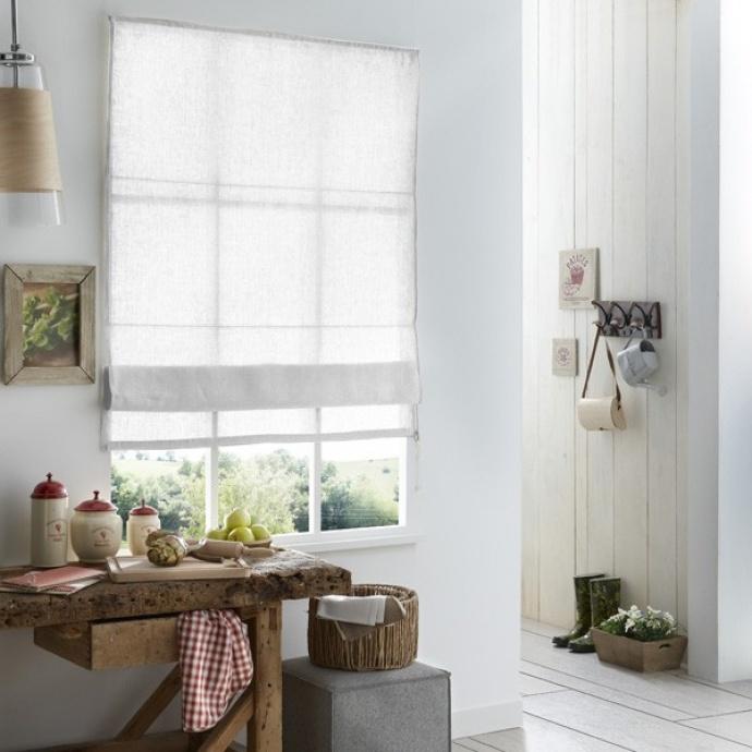 Store Bateau 100% lin (Blanc)