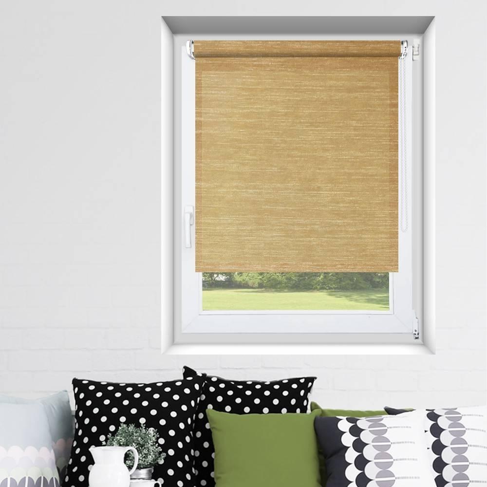store enrouleur fixation sans percer effet tiss caramel. Black Bedroom Furniture Sets. Home Design Ideas