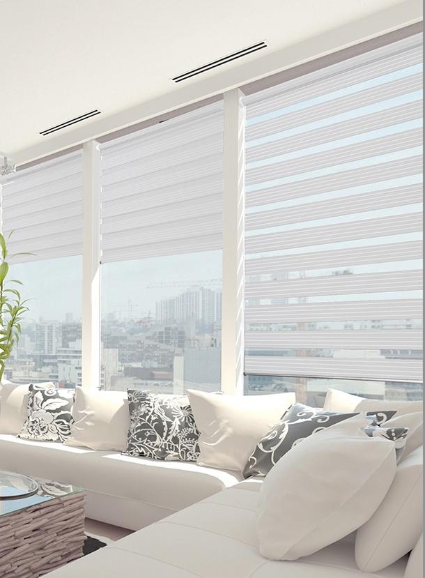 store enrouleur jour nuit fixation sans percer blanc. Black Bedroom Furniture Sets. Home Design Ideas