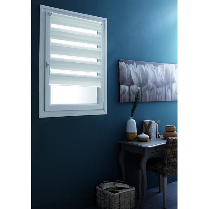 Store Enrouleur Jour/Nuit avec Fixation Sans Percer (Blanc)