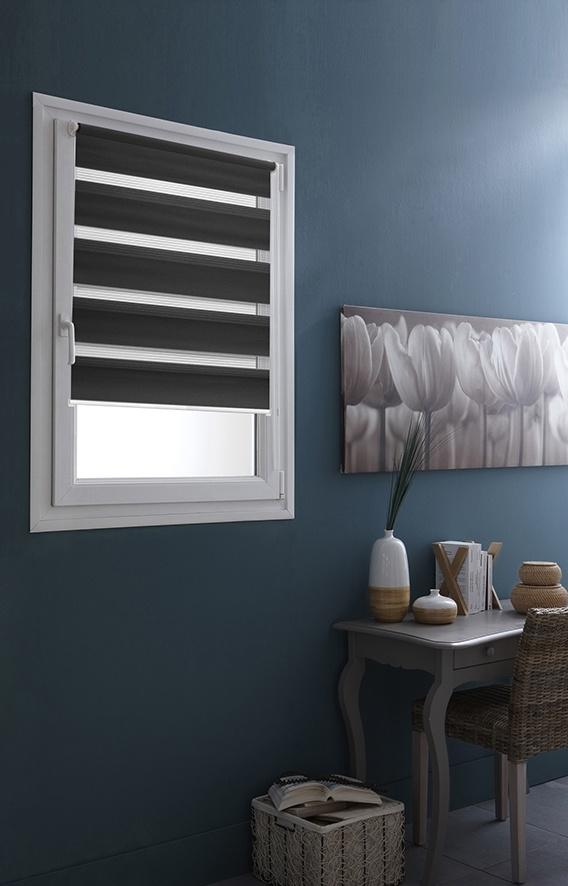 store enrouleur jour nuit avec fixation sans percer gris blanc homemaison vente en. Black Bedroom Furniture Sets. Home Design Ideas