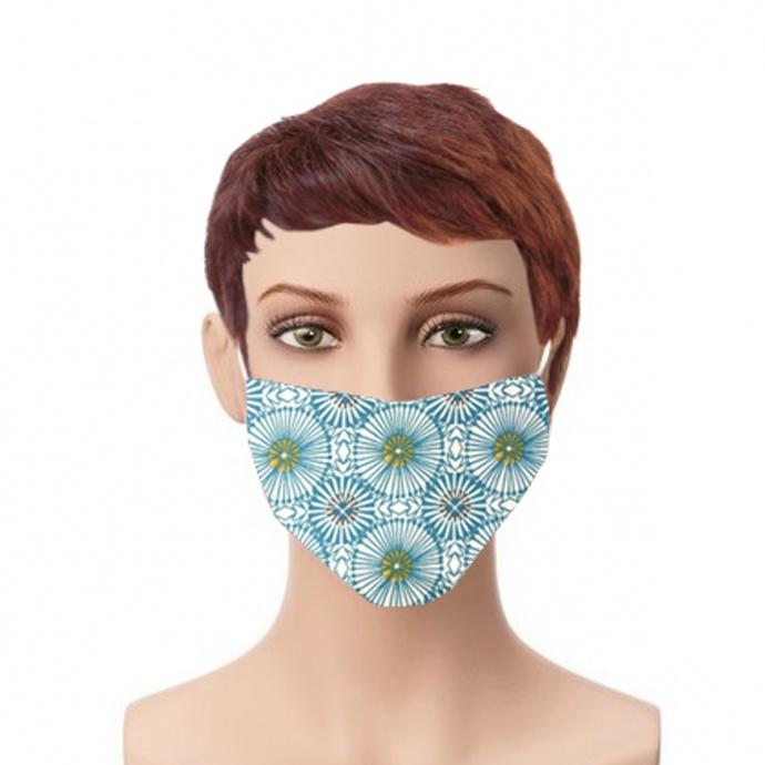 Lot de 4 masques imprimés géométriques et psychédéliques (Bleu)