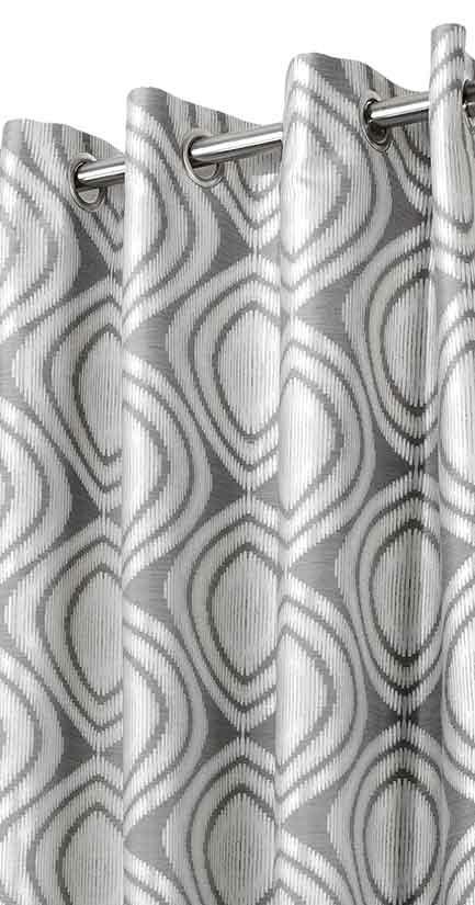 rideau aux formes g om triques gris homemaison vente en ligne tous les rideaux. Black Bedroom Furniture Sets. Home Design Ideas