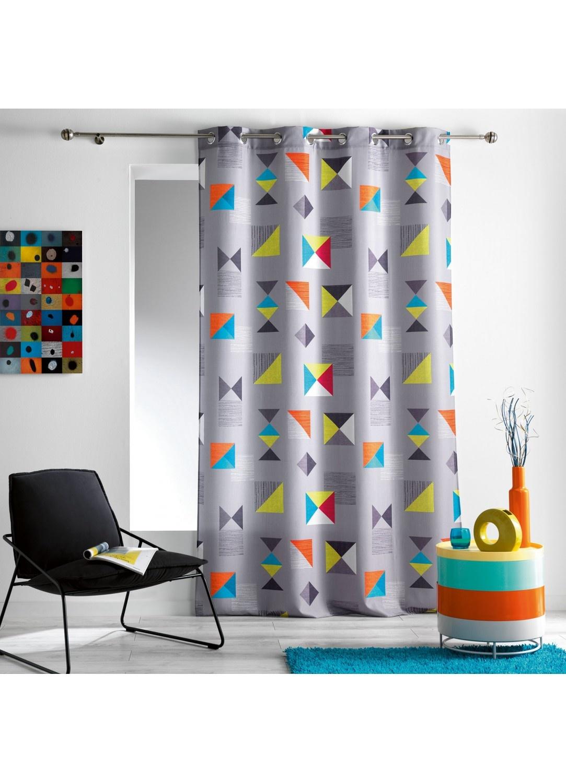 Rideau Gris en Polyester à Imprimés Géométriques Colorés (Gris)