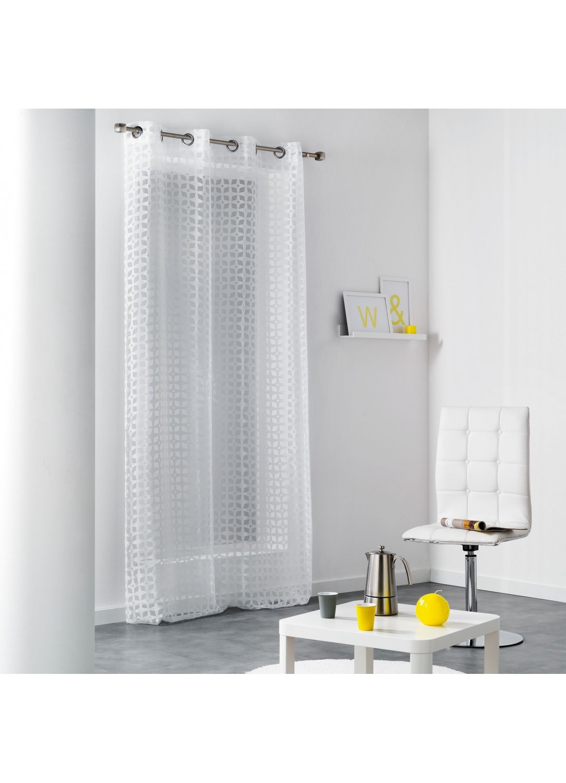 voilage design en organza d vor imprim s rosaces blanc homemaison vente en ligne tous. Black Bedroom Furniture Sets. Home Design Ideas
