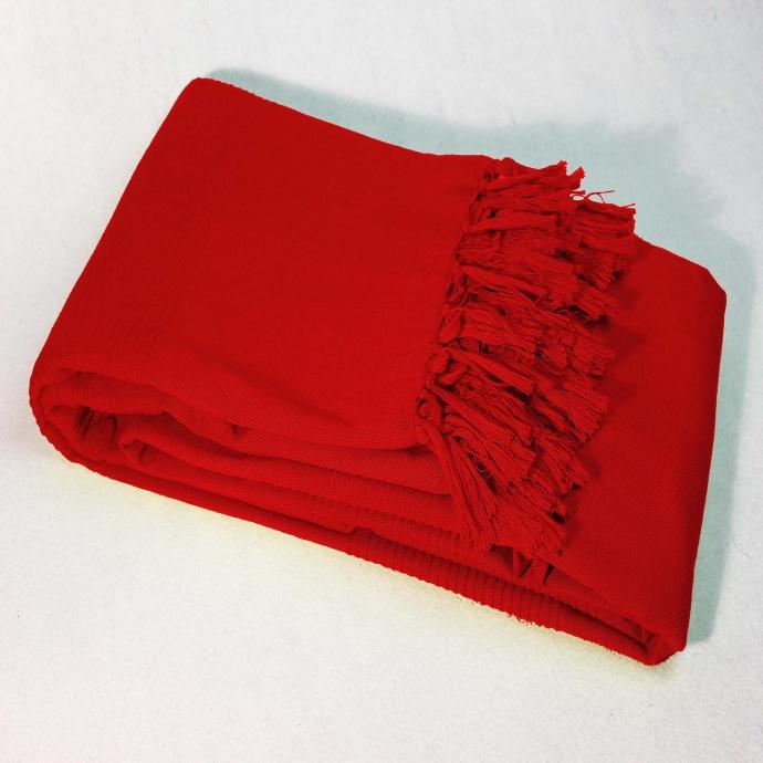 Jeté de Canapé Uni et à Franges en Pur Coton (Rouge)
