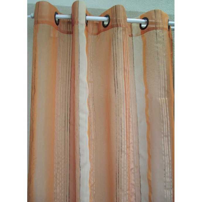 Voilage Organza Fantaisie fines rayures verticales (Mangue)