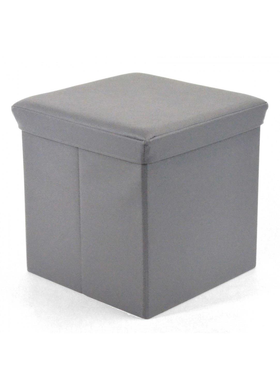 Pouf Pliable Imitation Cuir Mat (Argent) - Homemaison : vente en ...