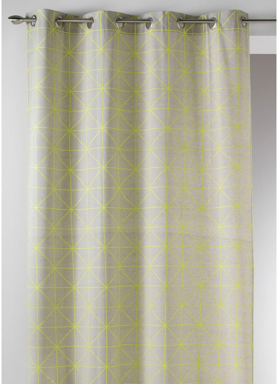 Cortina en Tela de Algodón Estampado de Diseño (Amarillo)