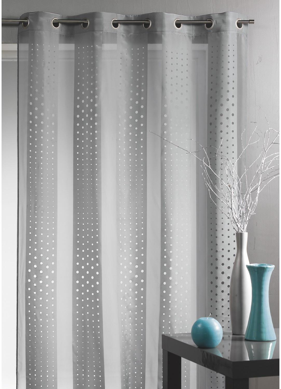 voilage ray et d coupe laser gris piment. Black Bedroom Furniture Sets. Home Design Ideas