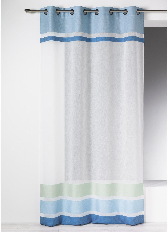 Voilage en étamine à parements haut et bas rayés (Bleu)