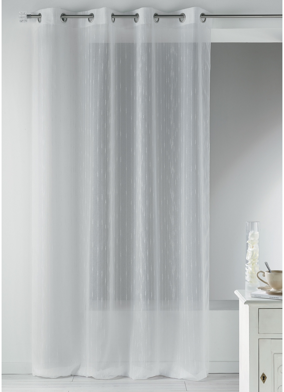 Voilage en étamine fantaisie à fines rayures verticales (Blanc)