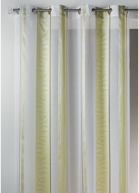 Voilage fantaisie en organza à rayures verticales design (Vert)