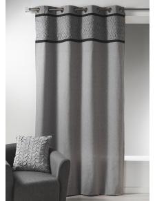 Rideau en toile de coton avec parement à plis gris