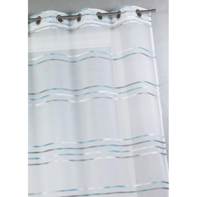 Voilage en étamine tissée de fines rayures horizontales (Aqua)