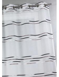 Voilage en étamine tissée de fines rayures horizontales