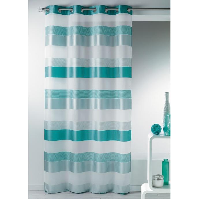 Voilage fantaisie tissée à rayures horizontales (Aqua)