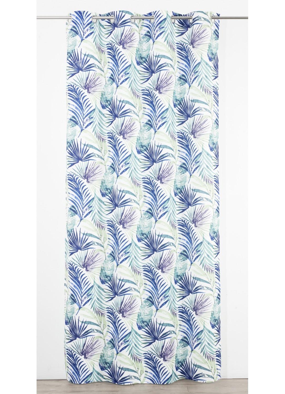 Rideau en Toile à Imprimés Tropical  (Bleu)
