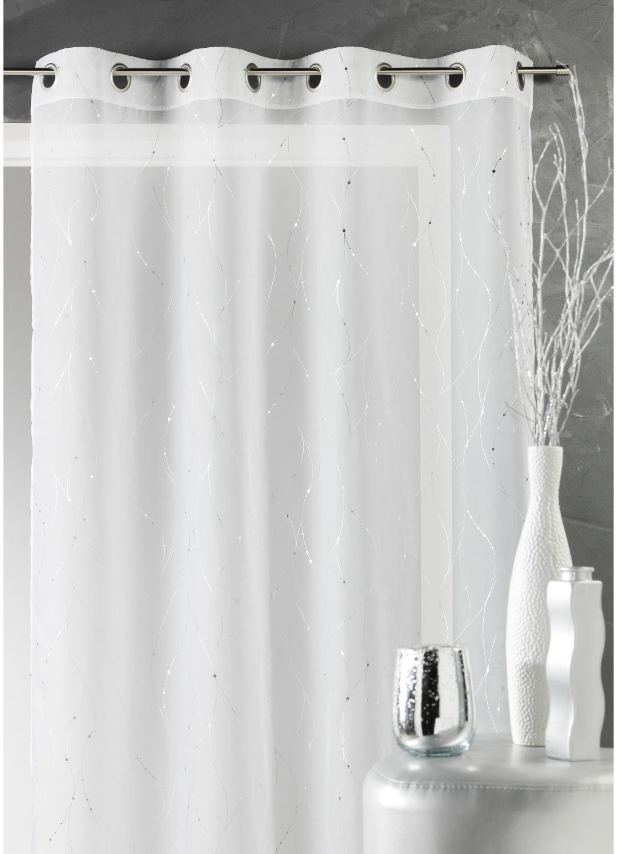 Voilage élégant avec fils argentés (Blanc)