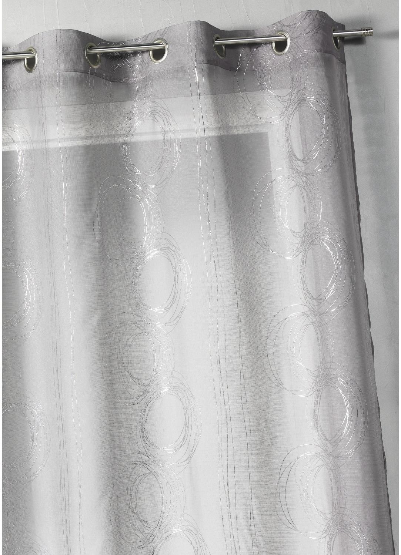 Voilage en étamine imprimé argenté (Gris)