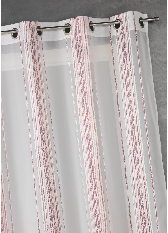 Voilage en jacquard à fines rayures verticales (Bordeaux)