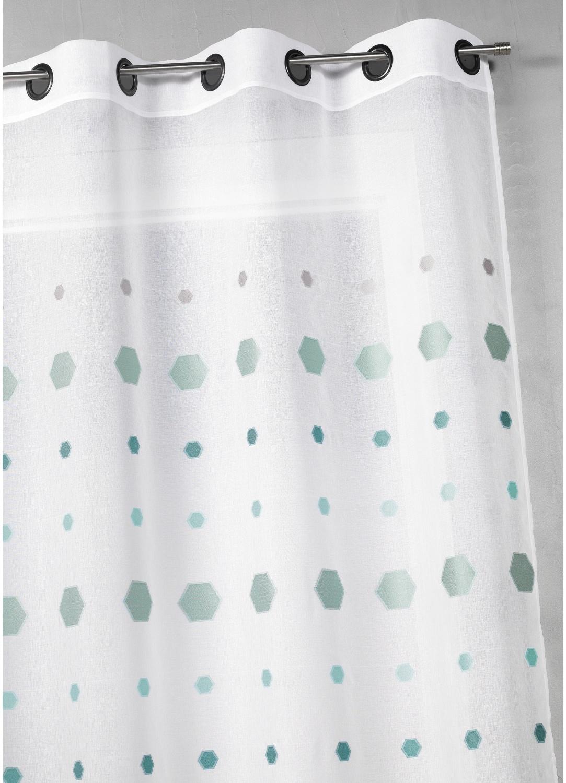 Visillo en jacquard con estampado hexagonal (Agua)
