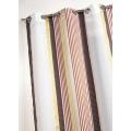 Voilage en étamine à fines rayures verticales colorées (Brique)